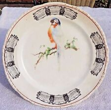 ANTIQUE 1930 CALENDER CERAMIC PLATE - PARROT IMAGE - HARKER POTTERY COMPANY