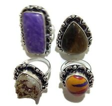 Exclusive Lot ! 4 PCs. RAINBOW CALSILICA 925 Sterling Silver Plated Ring Jewelry