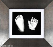 NUOVO REGALO UNICO 3d Baby CASTING KIT Argento Mano/piedi spazzolato Peltro BOX FRAME