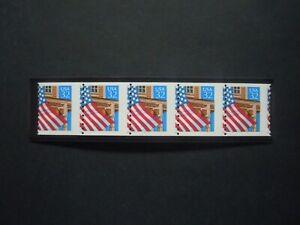 #2913 32c Flag over Porch  EFO Misperforated Strip of 5 MNH OG VF