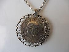 schöne,alte Kette_mit Münz-Anhänger__5 Krona 1908__Silber__Medaillon  !