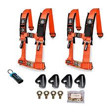 Pro Armor 4 Point 2 Padded Seat Harness Pair Mount Kit Bypass Orange Maverick X3