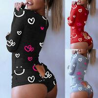 Women Heart Print V-neck Button Nightwear Jumpsuit Bodysuit Playsuit Romper US