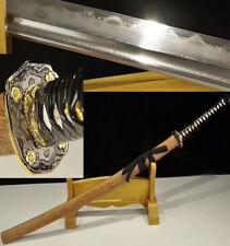 DAMASCUS FOLDED CLAY TEMPERED  JAPANESE SAMURAI KATANA  SWORD ROSE WOOD