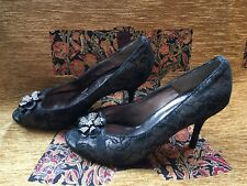 Lotus Black And Gold Lace Diamanté Peep Toe Heels Size 4