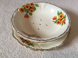 Vintage Crown Ducal Salad Drainer and Stand Art Deco Floral Pattern