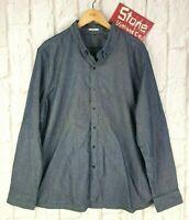 Levis Blue Twill Stretch Cotton Denim Long Sleeve Button Down Shirt £95 2XL New