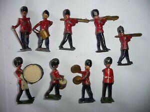 9 Vintage  Lead Figures of Bandsmen Britains & other