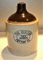 Antique Whiskey Stoneware Jug Salt Glazed, Western Pottery Co. Denver in Blue