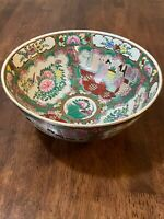 """Antique Chinese Rose Medallion Punch Bowl 10"""" Hand Painted Multi Colored! Beauty"""