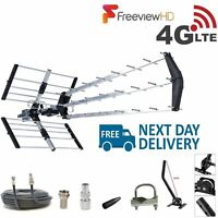 TV Aerial 4G Triple Boom 70 Element Freeview Digital HD Indoor Outdoor Full Kit