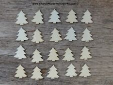 50 qty 1 inch tall Christmas trees in light wood, crafts, DIY, ornaments shapes