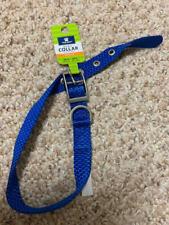 NWT Blue Nylon Dog Collar Silver Buckle Top Paw MEDIUM M