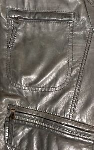 Mens Gray Leather Jacket Black Rivet Wilsons Bomber Sz L