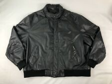 Members Only Leather Racer Jacket Mens Sz 3XL Black Classic 80s Vintage