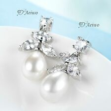 18K WHITE GOLD GF CRYSTAL WEDDING PARTY STUD LUXURY EARRINGS PEARL