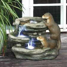 DW97060 - Bright Waters Otters Garden Fountain Sculpture w/Pump &LED Light Kit!