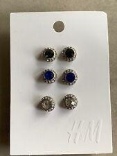 New H&M Crystal Stud Earrings Set 3 Pack
