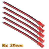 5 Stück JST BEC Premium Stecker Female 20cm Kabel LED Lipo Akku Batterie 20AWG