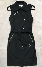Michael Kors Grommet Wrap Belt Dress, Size 4, Black, Sleeveless, Front Zipper