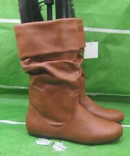 NEW LADIES Womens TAN  Flat Round Toe  Sexy Mid-Calf Boot Size  9