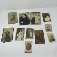 11 antique Black & White photos 1909 1890 Women Family Kid WW1 soldiers lot 4