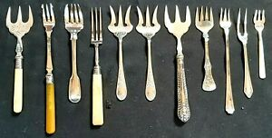 Job Lot Collection Of 11 Victorian Silver Plated Bread Forks & Pickle Forks