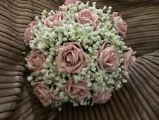 Wedding Brides Posy Bouquet White Gypsophila And  Vintage Pink Roses
