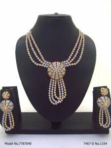 Indian Bollywood Choker CZ AD Wedding Gold Fashion Jewelry Necklace Sets styrmmm