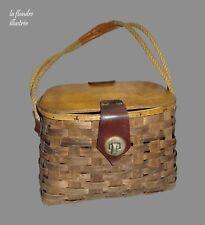 trés beau panier de pêche ancien en bois tressé - art populaire