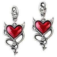 Official Alchemy Gothic Devil Heart Earrings - Jewellery Genuine Red