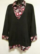 Style & Co. Women's Layered Look Pullover Silk Blend Black Tunic Top size L