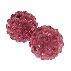 20 Perles Strass en argile (rose) Haute Qualité +/- 65 strass par perles 10 mm