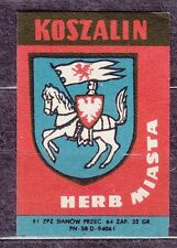 POLAND 1961 Matchbox Label - Cat.Z#185 Herb Town - KOSZALIN