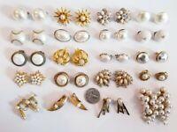 Lovely Vintage Mod Clip Earrings Lot Hattie Carnegie Italy Crown Trifari Napier