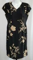 Maggy London Size 10 Silk Dress Asian Style Black Beige Blossom Floral V Neck