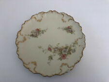 Antique AK Co France-Austria Limoges France Roses, Gold, Scalloped CABINET PLATE