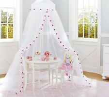 Pillowfort White with Red Pom Pom Canopy  ~ NEW Over Twin Bed or Play Area