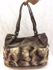 B. Makowsky Leather and Faux Fur Shoulder Bag Brown, Purse, Bag