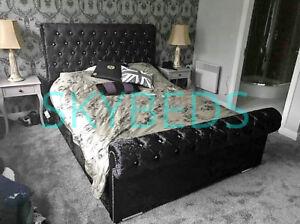crushed velvet bed frame in Sleigh Bed Frame Upholstered Chesterfieldbed frame