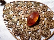 Old vintage retro Pressed Baltic Amber and Copper pendant hand-made jewelry 1569