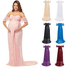 Pregnant Women Lace Dress Maternity Maxi Gown Baby Shower Photography Photo Prop