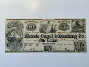 1841 $1 The Morris Canal and Banking Company - New Jersey Note - Choice UNC