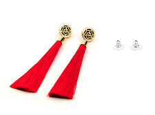 Red Tassel Earrings with Gold Rose and Diamante Feature UK