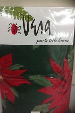 Vera Neumann Poinsettia FABRIC TABLECLOTH CHRISTMAS 60X120in Oblong  NEW
