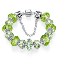VOROCO Green Crystal Silver Chain Fit Charm Bead Bracelet Gem Murano Glass Beads