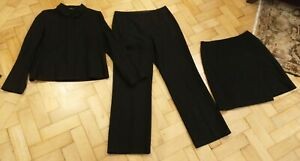 Vintage 1990s M&S Black Wool Blend Jacket Trouser Skirt Size 12 Capsule Wardrobe