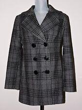 New York & Company Peacoat Sz 8 Coat Plaid Grey Gray Black Double Breasted