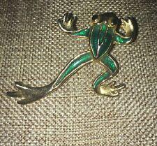 Vintage Green Enamel Frog Pin