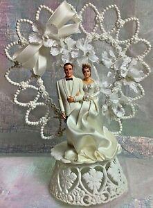 1965 Wedding Cake Topper Vintage Love Groom Bride Floral